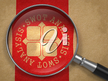 Magnifying Glass with SWOT Analisis Written Arround Icon on Old Paper with Red Vertical Line Background. Psychological Concept