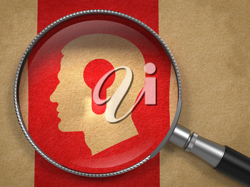 Psychological Concept. Magnifying Glass with Icon of Profile of Head with a Keyhole on Old Paper with Red Vertical Line Background.