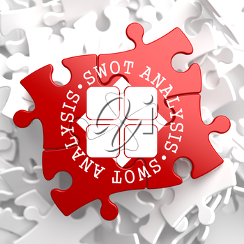 SWOT Analisis Written Arround Icon on Red Puzzle. Business Concept.