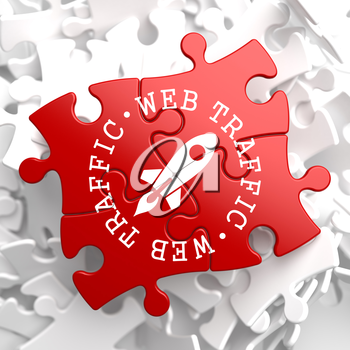 Web Traffic Written Arround Icon of Go Up Rocket, Located on Red Puzzle. Internet Concept.