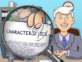 Business Man in Office Workplace Holds Out a Paper with Concept Characteristics. Closeup View through Magnifying Glass. Multicolor Doodle Illustration.