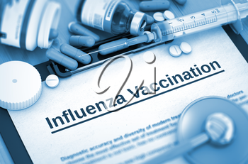 Influenza Vaccination - Medical Report with Composition of Medicaments - Pills, Injections and Syringe. Influenza Vaccination, Medical Concept with Selective Focus. 3D Render.