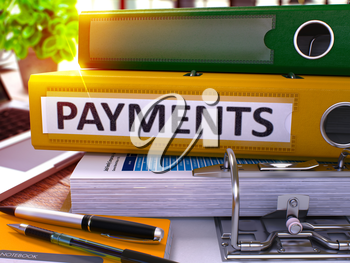 Payments - Yellow Office Folder on Background of Working Table with Stationery and Laptop. Payments Business Concept on Blurred Background. Payments Toned Image. 3D.