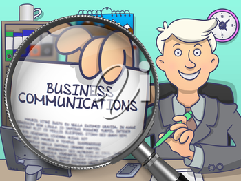 Business Communications on Paper in Businessman's Hand to Illustrate a Business Concept. Closeup View through Magnifier. Colored Doodle Style Illustration.