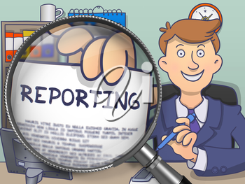 Reporting on Paper in Officeman's Hand to Illustrate a Business Concept. Closeup View through Magnifying Glass. Multicolor Modern Line Illustration in Doodle Style.