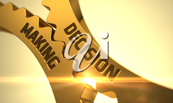 Golden Cog Gears with Decision Making Concept. Decision Making Golden Gears. Decision Making - Illustration with Glow Effect and Lens Flare. Decision Making on Golden Metallic Cog Gears. 3D.