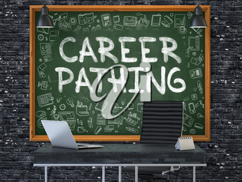 Career Pathing - Handwritten Inscription by Chalk on Green Chalkboard with Doodle Icons Around. Business Concept in the Interior of a Modern Office on the Dark Brick Wall Background. 3D.