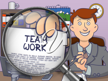 Team Work. Happy Businessman Sitting in Office and Showing a Text on Paper through Magnifier. Colored Doodle Style Illustration.