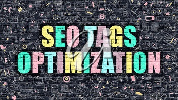 SEO Tags Optimization Concept. Modern Illustration. Multicolor SEO Tags Optimization Drawn on Dark Brick Wall. Doodle Icons. Doodle Style of SEO Tags Optimization Concept.