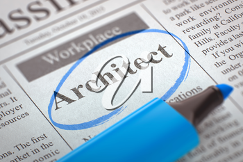 Architect - Job Vacancy in Newspaper, Circled with a Blue Marker. Blurred Image. Selective focus. Hiring Concept. 3D.