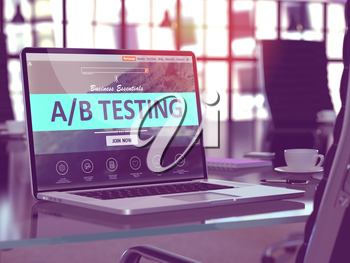 A/B Testing Concept Closeup on Laptop Screen in Modern Office Workplace. Toned Image with Selective Focus. 3D Render.