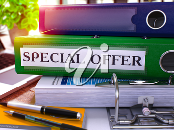 Green Office Folder with Inscription Special Offer on Office Desktop with Office Supplies and Modern Laptop. Special Offer Business Concept on Blurred Background. Special Offer - Toned Image. 3D.
