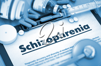 Diagnosis - Schizophrenia On Background of Medicaments Composition - Pills, Injections and Syringe. 3D Render.
