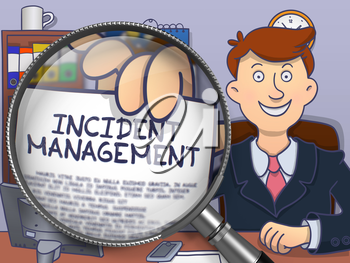 Man in Suit Shows Paper with Concept Incident Management through Magnifying Glass. Closeup View. Colored Modern Line Illustration in Doodle Style.