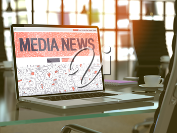 Media News - Closeup Landing Page in Doodle Design Style on Laptop Screen. On Background of Comfortable Working Place in Modern Office. Toned, Blurred Image. 3D Render.