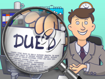 DUED. Paper with Concept in Businessman's Hand through Magnifier. Colored Modern Line Illustration in Doodle Style.