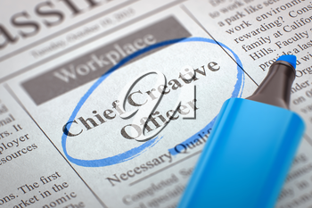 Chief Creative Officer. Newspaper with the Job Vacancy, Circled with a Blue Marker. Blurred Image with Selective focus. Job Seeking Concept. 3D.