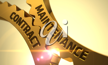 Maintenance Contract on the Mechanism of Golden Gears with Lens Flare. Maintenance Contract - Illustration with Glow Effect and Lens Flare. 3D Render.