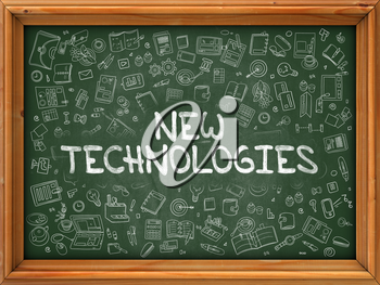 Hand Drawn New Technologies on Green Chalkboard. Hand Drawn Doodle Icons Around Chalkboard. Modern Illustration with Line Style.