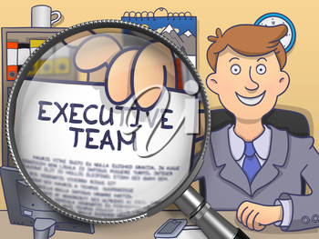 Executive Team on Paper in Business Man's Hand to Illustrate a Business Concept. Closeup View through Magnifier. Colored Doodle Illustration.