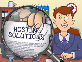 Hosting Solutions on Paper in Business Man's Hand through Lens to Illustrate a Business Concept. Colored Doodle Style Illustration.