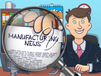 Officeman Showing Concept on Paper Manufacturing News. Closeup View through Magnifying Glass. Colored Doodle Illustration.