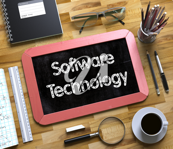 Software Technology - Text on Small Chalkboard.Software Technology on Small Chalkboard. 3d Rendering.