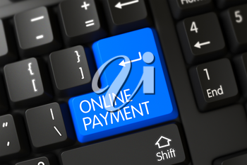 Online Payment Concept: Modern Laptop Keyboard with Online Payment on Blue Enter Keypad Background, Selected Focus. Online Payment Key on Modern Keyboard. 3D Render.