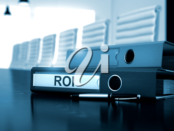 ROI - Concept. Office Binder with Inscription ROI on Wooden Desk. ROI. Business Concept on Blurred Background. 3D Render.