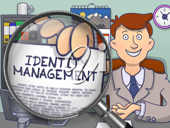 Identity Management. Man in Office Showing through Magnifying Glass Concept on Paper. Colored Doodle Illustration.