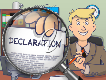 Officeman in Suit Showing a Paper with Inscription Declaration through Magnifying Glass. Closeup View. Multicolor Modern Line Illustration in Doodle Style.