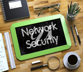 Network Security - Text on Small Chalkboard.Network Security - Green Small Chalkboard with Hand Drawn Text and Stationery on Office Desk. Top View. 3d Rendering.