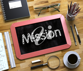 Top View of Office Desk with Stationery and Red Small Chalkboard with Business Concept - Mission. Mission on Small Chalkboard. 3d Rendering.