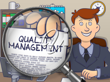 Businessman Shows Concept on Paper Quality Management. Closeup View through Magnifying Glass. Colored Doodle Style Illustration.