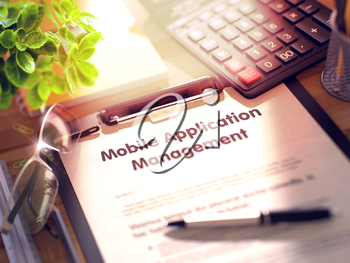 Office Desk with Stationery, Calculator, Glasses, Green Flower and Clipboard with Paper and Business Concept - Mobile Application Management. 3d Rendering. Toned Illustration.