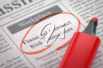 Financial Conduct Risk Consultant. Newspaper with the Job Vacancy, Circled with a Red Marker. Blurred Image. Selective focus. Job Seeking Concept. 3D.