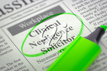Clinical Negligence Solicitor - Small Ads of Job Search in Newspaper, Circled with a Green Marker. Blurred Image with Selective focus. Hiring Concept. 3D Illustration.
