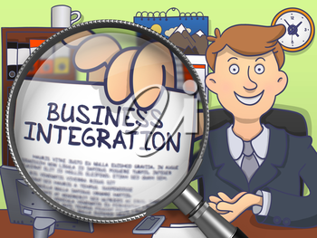 Business Integration. Successful Man in Office Workplace Showing a Concept on Paper through Magnifying Glass. Multicolor Modern Line Illustration in Doodle Style.