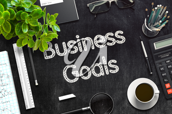 Business Goals Concept on Black Chalkboard. 3d Rendering. Toned Illustration.