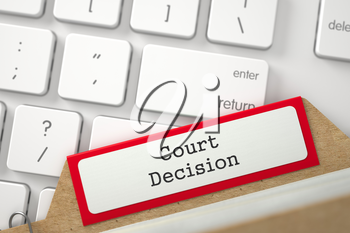 Court Decision. Red Card Index Overlies Modern Keyboard. Business Concept. Closeup View. Blurred Illustration. 3D Rendering.