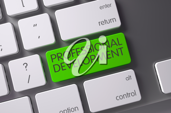 Concept of Professional Development, with Professional Development on Green Enter Keypad on Computer Keyboard. 3D Illustration.