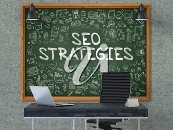 Green Chalkboard with the Text SEO - Search Engine Optimization - Strategies Hangs on the Gray Concrete Wall in the Interior of a Modern Office. Illustration with Doodle Style Elements. 3D.