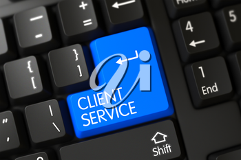 Concepts of Client Service on Blue Enter Button on Modern Keyboard. 3D Render.