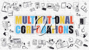 Multinational Corporations. Multicolor Inscription on White Brick Wall with Doodle Icons Around. Modern Style Illustration with Doodle Design Icons. Multinational Corporations on Brickwall Background.