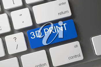 3D Print Concept Aluminum Keyboard with 3D Print on Blue Enter Button Background, Selected Focus. 3D Illustration.