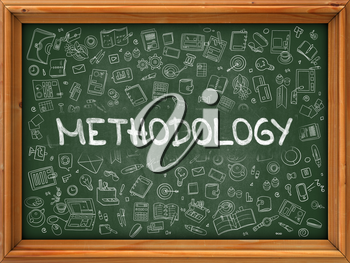 Methodology Concept. Line Style Illustration. Methodology Handwritten on Green Chalkboard with Doodle Icons Around. Doodle Design Style of  Methodology.