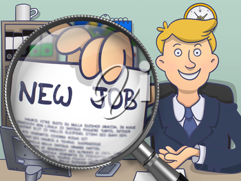 New Job through Magnifier. Businessman Holding a Text on Paper. Closeup View. Multicolor Doodle Illustration.