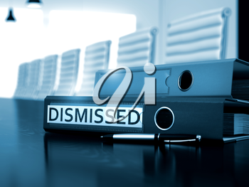 Dismissed - Folder on Working Black Desk. Dismissed. Illustration on Blurred Background. Office Folder with Inscription Dismissed on Wooden Desk. 3D Render.