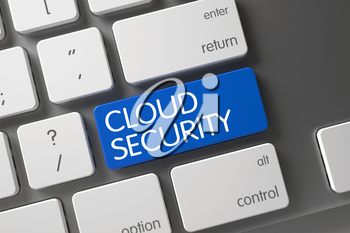 Cloud Security Concept: Aluminum Keyboard with Cloud Security, Selected Focus on Blue Enter Button. 3D Illustration.