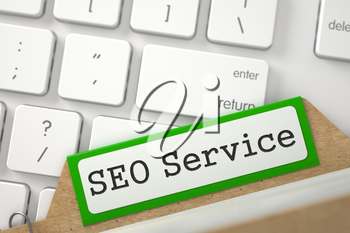 SEO Service. Green Card File Overlies White PC Keypad. Business Concept. Close Up View. Selective Focus. 3D Rendering.